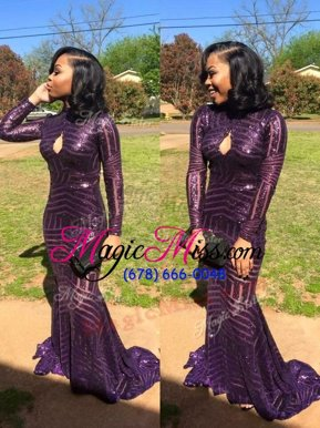 Spectacular Mermaid Eggplant Purple High-neck Zipper Sequins Mother Of The Bride Dress Sweep Train Long Sleeves