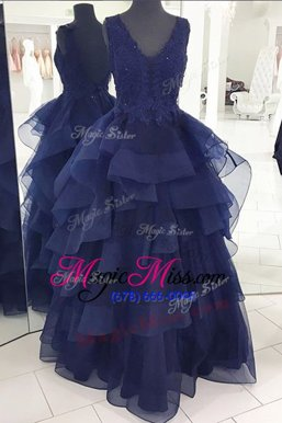 Luxurious Organza Sleeveless Floor Length Military Ball Dresses and Beading and Appliques and Ruffles