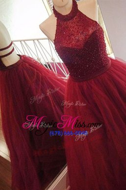Pretty Burgundy Tulle Backless Halter Top Sleeveless With Train Pageant Dress for Teens Sweep Train Beading