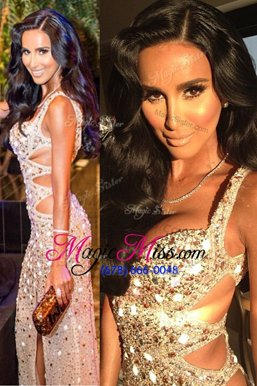 Fancy Scoop Sleeveless Sequined Floor Length Backless Formal Evening Gowns in Peach for with Beading and Sequins
