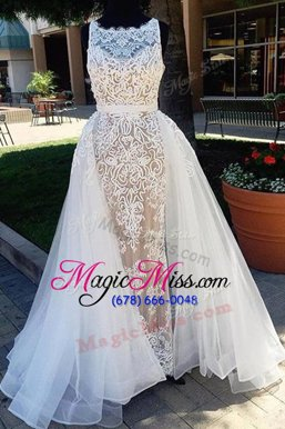 Pretty Champagne A-line Scoop Sleeveless Tulle Brush Train Zipper Lace Military Ball Gowns