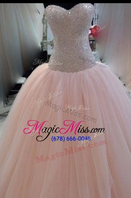 Traditional Floor Length Pink Military Ball Dresses For Women Tulle Sleeveless Beading and Sequins and Bowknot