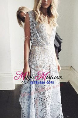 Beauteous Scoop Sleeveless Lace Zipper Juniors Evening Dress