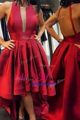 Eye-catching Scoop Sleeveless Homecoming Dress Online Asymmetrical Pleated Red Satin