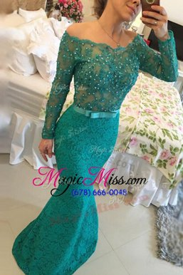 Fabulous Mermaid Off The Shoulder Long Sleeves Mother Of The Bride Dress Floor Length Beading Turquoise Lace