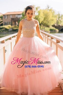 Luxurious Scoop Floor Length A-line Sleeveless Pink Pageant Dress Toddler Zipper