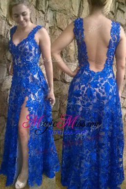 On Sale V-neck Sleeveless Backless Formal Dresses Blue Lace