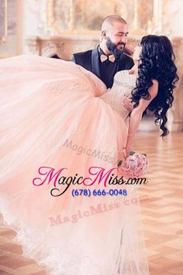 Unique Pink Chiffon Lace Up Custom Made Pageant Dress Sleeveless Floor Length Beading