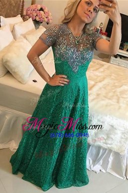 Scoop Lace Short Sleeves Beading Zipper Mother Of The Bride Dress