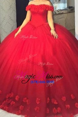 High Class Red Ball Gowns Off The Shoulder Short Sleeves Tulle Lace Up Hand Made Flower Pageant Dresses