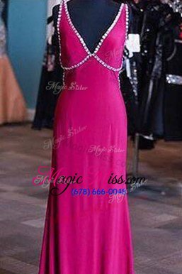 Elegant Fuchsia Satin Zipper V-neck Sleeveless Floor Length Prom Evening Gown Sashes|ribbons