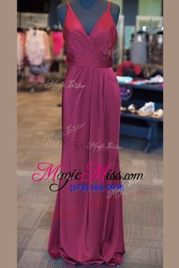 Attractive Lilac V-neck Zipper Ruching and Pleated Mother Of The Bride Dress Sleeveless