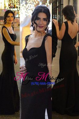 Custom Design Mermaid Sweetheart Sleeveless Sweep Train Zipper Evening Dresses Black Satin