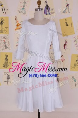 Unique Scoop Half Sleeves Zipper Mother Of The Bride Dress White Chiffon