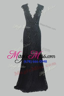 Wonderful Lace Floor Length Column/Sheath Cap Sleeves Black Prom Dress Zipper