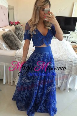 Dramatic Royal Blue Mother Of The Bride Dress Prom and Party and For with Lace and Appliques V-neck Short Sleeves Sweep Train Zipper