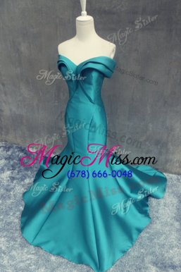 Dynamic Mermaid Ruching Evening Wear Teal Zipper Sleeveless Brush Train