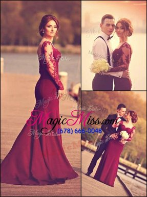 Superior Burgundy Sweetheart Zipper Lace and Appliques Mother Of The Bride Dress Court Train Long Sleeves