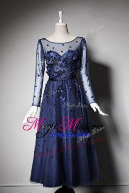 Trendy Tulle Scoop Long Sleeves Zipper Beading and Hand Made Flower Mother Of The Bride Dress in Navy Blue