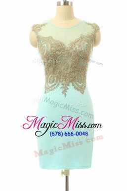 Amazing Mini Length Side Zipper Mother Of The Bride Dress Turquoise and In with Lace
