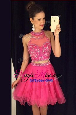 Fine Tulle Scoop Sleeveless Zipper Beading Prom Party Dress in Rose Pink