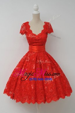 Lace Scalloped Cap Sleeves Zipper Sashes|ribbons Evening Dress in Red