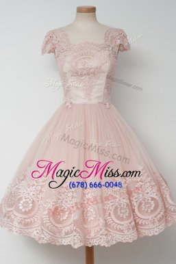 Cute A-line Prom Evening Gown Baby Pink Square Tulle Cap Sleeves Tea Length Zipper