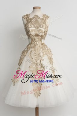 Adorable Knee Length Champagne Military Ball Gowns Tulle Sleeveless Lace