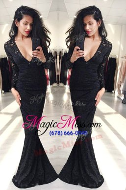 Excellent Mermaid Black Long Sleeves Floor Length Lace Zipper Evening Outfits
