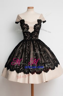 Best Selling Black Ball Gowns Satin Scoop Cap Sleeves Lace Knee Length Zipper Prom Evening Gown