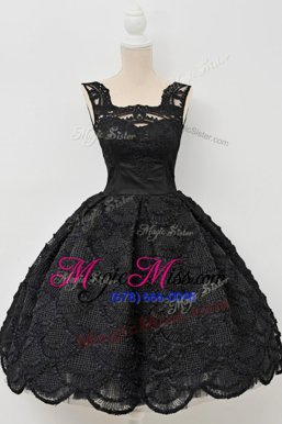 Custom Design Knee Length Zipper Oscars Dresses Black and In for Prom and Party with Lace