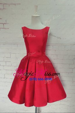 Eye-catching Red Sleeveless Satin Backless Hoco Dress for Prom and Party