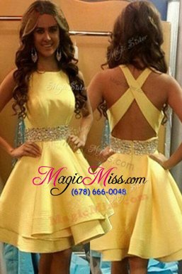 Top Selling Yellow Scoop Criss Cross Beading Homecoming Dress Sleeveless