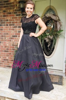 Deluxe Scoop Cap Sleeves Floor Length Beading Backless Celebrity Style Dress with Black