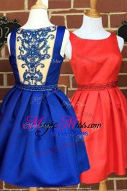 Smart Beading Prom Homecoming Dress Blue Side Zipper Sleeveless Knee Length