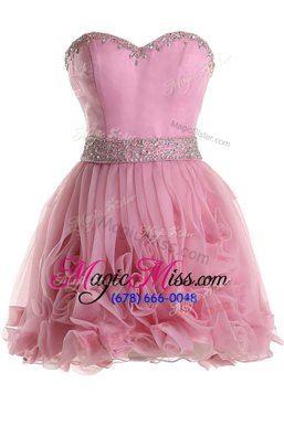 Most Popular Pink A-line Organza Sweetheart Sleeveless Beading Knee Length Zipper Cocktail Dresses