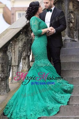 Delicate Mermaid Tulle Long Sleeves With Train Evening Outfits Chapel Train and Beading and Appliques