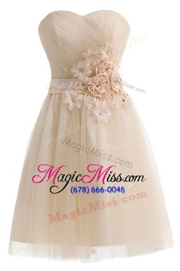 Shining Champagne Lace Up Sweetheart Beading and Hand Made Flower Homecoming Party Dress Tulle Sleeveless