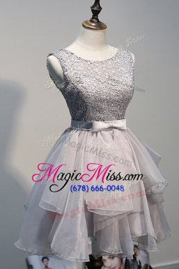 Scoop Knee Length Grey Prom Dress Organza and Lace Sleeveless Beading
