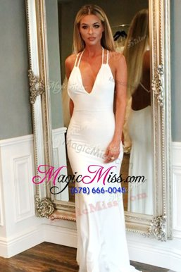 Elegant Mermaid With Train White Celebrity Dress Elastic Woven Satin Brush Train Sleeveless Ruching