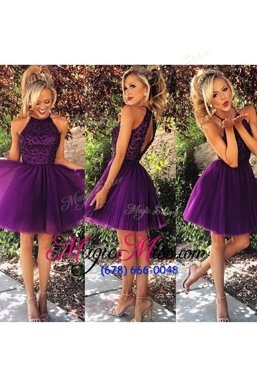 Smart Purple Sleeveless Beading and Ruching Knee Length Prom Evening Gown