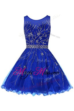 Suitable Sleeveless Tulle Knee Length Zipper Prom Gown in Royal Blue for with Beading