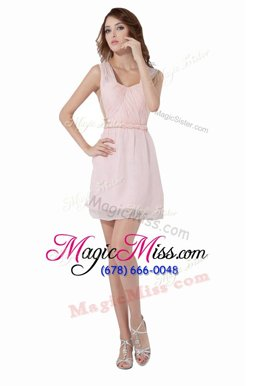 Wonderful Knee Length A-line Sleeveless Baby Pink Homecoming Dress Online Backless