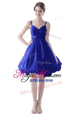 Custom Fit Spaghetti Straps Sleeveless Knee Length Beading Royal Blue Satin