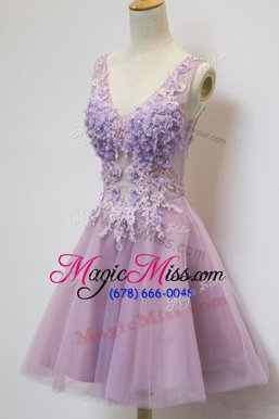 Cute Lavender Dress for Prom Prom and Party and For with Appliques V-neck Sleeveless Zipper