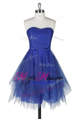 Modern Strapless Sleeveless Tulle and Lace Prom Dress Belt Zipper