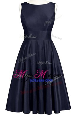 New Style Scoop Sleeveless Homecoming Dress Knee Length Bowknot Navy Blue Taffeta