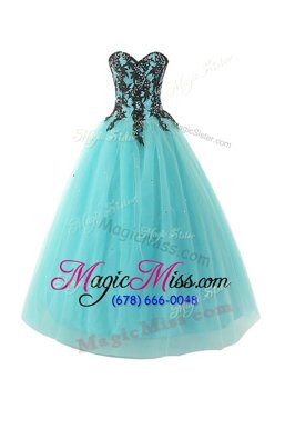 Romantic Blue Ball Gowns Sweetheart Sleeveless Tulle Floor Length Lace Up Appliques Custom Made Pageant Dress