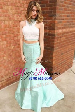 Captivating Mermaid Halter Top Light Blue Zipper Evening Outfits Beading and Lace Sleeveless Floor Length