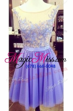 Nice Scoop Lace Appliques Hoco Dress Red and Royal Blue Zipper Sleeveless Mini Length